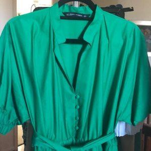 Green Puff sleeve full skirt dress from Zara